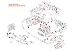 Koelvloeistof darmen en klemmen 1.9/2.1l WBX synchro code DG,MV,DJ,SP,SR,SS 08/85-